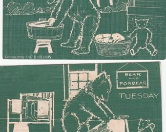 Antique Teddy Bears Of The Week Set Bear &Forbear Fantasy 7 Postcards 1907 A/S D. Hillson