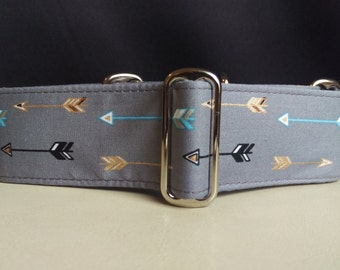 """Martingale Collar - Whippet, and Small to Medium Dog - 1.5"""" width - Blue & Gold Arrows"""