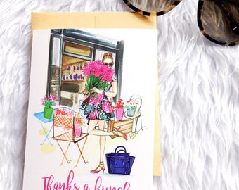 Thank you cards, Thanks a bunch cards,Fashionista gift, Greeting cards set,Thank you card blank,Fashion illustration greeting cards