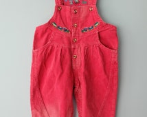 Vintage baby clothes red dungarees toddler overalls cord embroidered trains playsuit jumpsuit outfit romper age 2T baby onepiece overalls