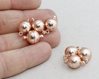 11mm Rose Gold Magnetic Clasp , Round Magnetic Clasps, Magnetic Ball Clasp , PLS88