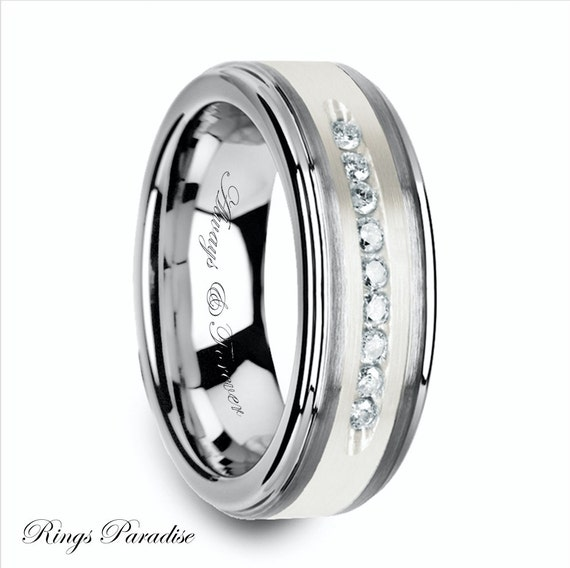 Tungsten Diamond Rings Mens Tungsten Wedding Band Tungsten