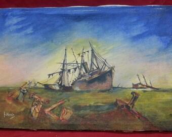 Antique old vintage signed original painting shipwreck nautical seascape