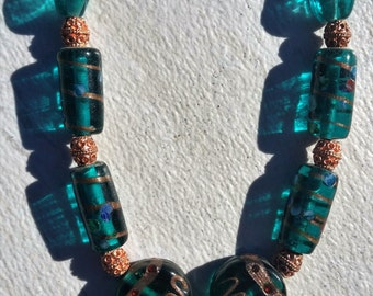 Emerald Green and Copper Necklace