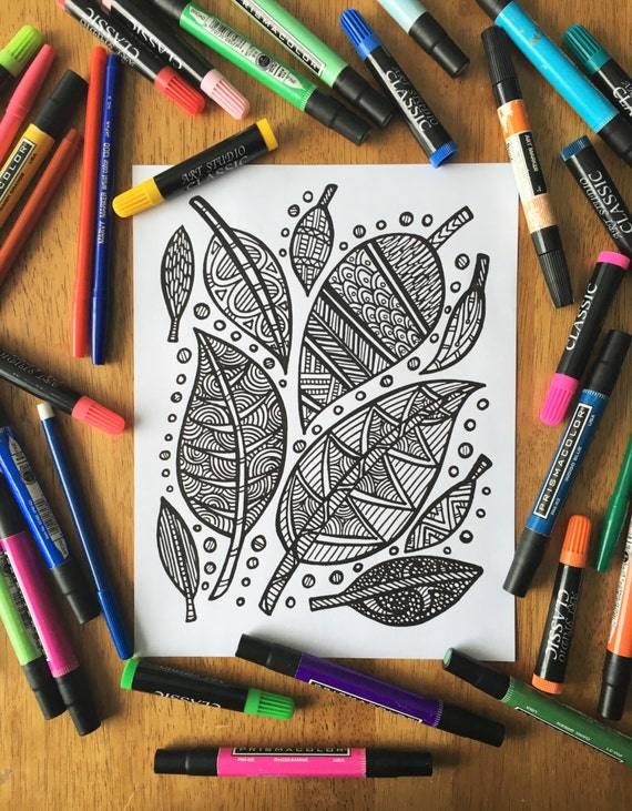 Printable Coloring Page - Leaves/Nature Coloring/Autumn Coloring/Patterned Coloring Page/Adult Coloring/Coloring Page Download