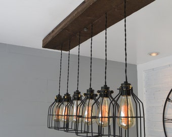 Farm House Light - Pendant Lighting - Wood Light - Kitchen Light - Industrial Chic - Chandelier - reclaimed wood - wood fixture -light