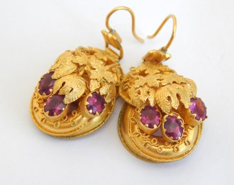 victorian antique earrings in 18ct gold and amethyst - etruscan jewelry