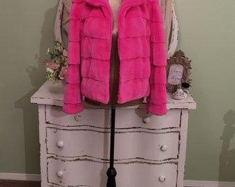 Zandra Rhodes Pink Fur Jacket, Designer Coat, French Rex Fur, M/ML, Genuine Fur Jacket, Luxury Fur Coat, Couture Jacket, Princess Di Designr