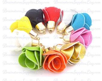 Key Chain Tassel - Flower Tassels - 6 Assorted Color, Pale Gold Cap Rose Tassels - Decorative Tassels -  Purse Tassel - Tassels - TD-1G01