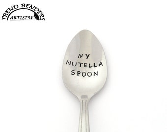 My Nutella Spoon Hand Stamped Spoon Stainless Steel, Unique Birthday Gifts For Him, Her, Boyfriend, Boy, Girl, Mom, Dad, Kids Christmas Gift