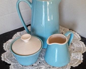 Vintage Napco 3 Piece Tea Set Robins Egg Blue C-5453