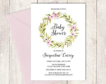 Pink Baby Shower Invitation DIY / Watercolor Wreath / Pink Flower / Watercolor Flower Wreath, Whimsical Lettering ▷ Invite Printable PDF