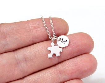Silver Puzzle Piece Necklace, Gold Jigsaw Puzzle Piece Charm, Initial Necklace, Personalized Stamped Initial, Necklace, Graduation Gift