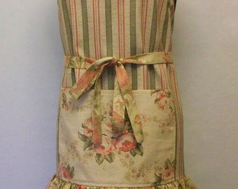 Women's Apron Handmade with Pockets for Kitchen Gardening Utility