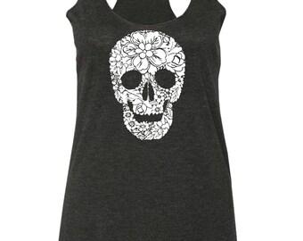 Skull Tank Top, Floral Skull Womens Tank Top, Skull Flowers Womens Tank Top