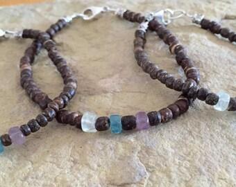 Amber wood bead bracelets, birthstone mother-father-daughter-son bracelet sets, stretch bracelets, mother-daughter bracelets, gift for mom