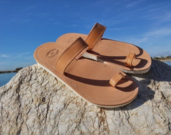 Toe Ring Sandals with Thick Soles. Toe Ring Sandals - Leather Sandals - White Platform Shoes. Handmade in Greece. 100% Cow Leather.