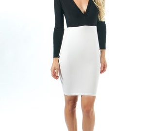 White Bodycon Dress with Black - other colors available
