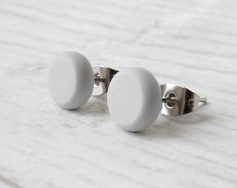 Grey Stud Earrings - Minimalist Jewelry - Sterling Silver Stud Earrings - Mens Earrings - Grey Silver Post Earrings - Boyfriend Gift
