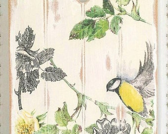 Wooden Birds Plaque, Shabby Cottage Chic, Rustic Floral Wall Hanging, Victorian Vintage Sign, Decoupage Art Panel, Housewarming Gift,