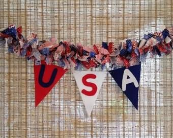 USA Banner, USA Rag Garland, USA Garland, Memorial Day Decoration, July 4th Decoration, Red White Blue Decoration, July 4th Garland, 3ft