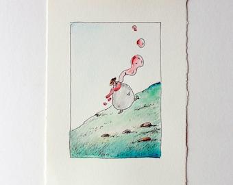 Original Watercolor, Original illustration,  Kids Wall Decor, Art kids,  Children's art