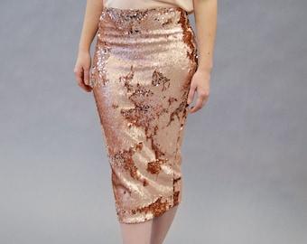 Rose Gold Sequin Midi Skirt