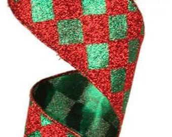 WIRED RIBBON - Ribbon - Red Ribbon - Green Ribbon - Diamond Ribbon - Christmas Ribbon - Harlequin Diamond - Wreath - Floral - RM9516CY