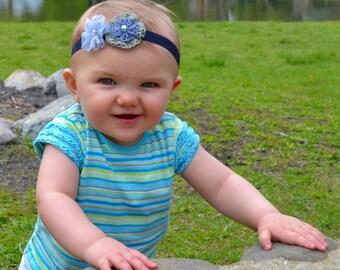 Blue Flower Headband, Blue Flowers, Baby Bow, Baby Headband, Headbands, Bows, Flower Bow, Flower Headband, Girls Bow, Girls Headband, Girls