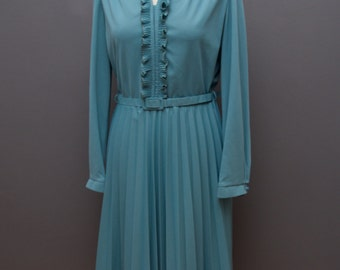 70s Ruffle Dress with Bow // Blue 1970s Vintage long sleeved dress