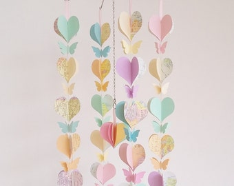 Baby girl mobile- pastel mobile- heart and butterfly mobile - pastel nursery decor