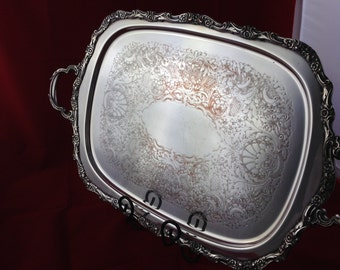 Vintage Silver Plate Waiter's Tray with Handles