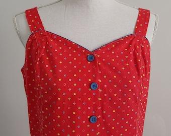 1950's Vintage Red Polka Dot Midi Dress