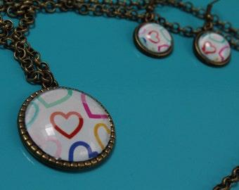 Gemstone earrings and necklace-heart pattern