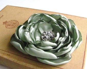 Sage Green Flower Hair Clip.Bridesmaid.Headpiece.Satin Pin.Wedding Brooch.Corsage.bridal.flower pin.brooch.hair accessory.sage.sage green