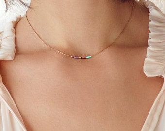 Dainty Beaded Rose Gold Chain Necklace / Delicate Short Minimalist Thin Jewelry / Colorful Simple Boho Necklace Elegant Pink Bridesmaid Gift