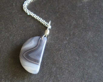 Botswana Agate Necklace, Natural Stone Pendant, Taupe Jewelry
