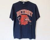 Vintage 1988 Detroit Tigers MLB / Navy Blue T-shirt / 80s Baseball Tee