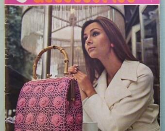 Vintage 1960s 1970s Crochet Accessories Book Coats UK bags purses hats slippers umbrella cover 60s 70s original crochet patterns booklet