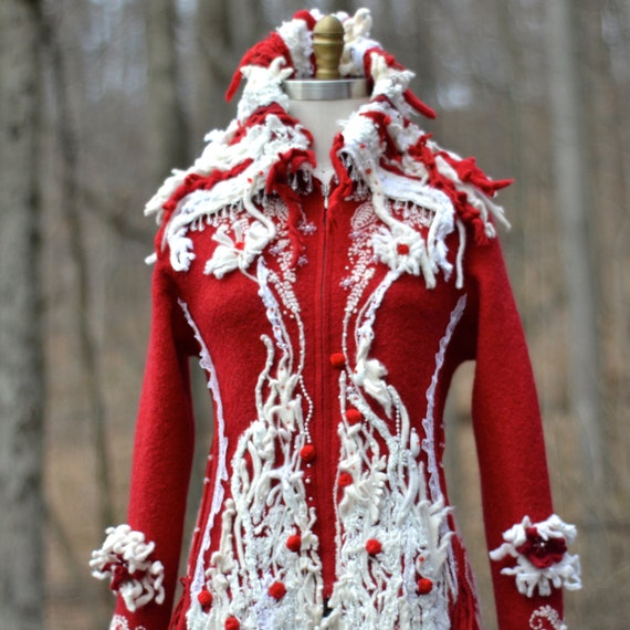 Long red white boho sweater COAT, OOAK Winter wonderland fantasy fairy tale clothing, Size Medium/ Large. Ready to ship