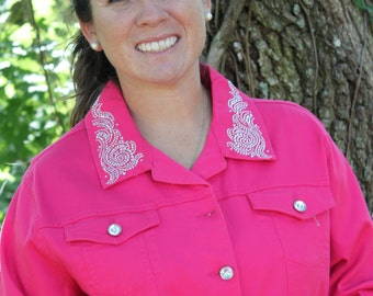 Women's Medium Pink Rhinesone Crystal Bling Western Barrel Horse Denim Straight Bottom Jacket