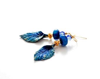 Deep Blue Glass Bead Earrings. Cobalt Blue-Gold PMC Leaf Charms. Dangle Drop Earrings. Rustic Organic Earrings. Lampwork Jewelry.