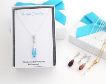 Aquamarine Crystal Necklace, Will You Be My Bridesmaid Gift, Necklace For Bridesmaid, Swarovski Pendant Necklace, Bridesmaid Ask Gift