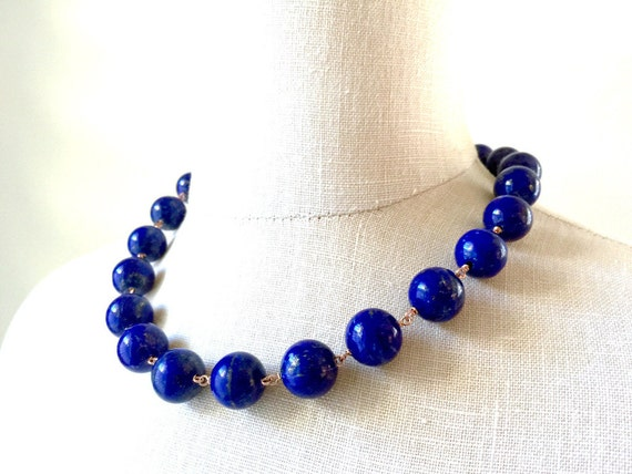 Luxury Lapis Lazuli Rose Gold Necklace Statement Jewelry