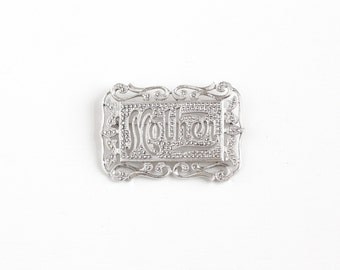 Vintage Sterling Silver Mother Marcasite Brooch - Art Deco 1930s 1940s Mom Gift Word Text Letter Statement Jewelry Pin , Signed Brandt