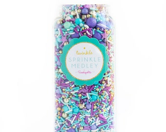 Fairy Tale Twinkle Sprinkle Medley, Pastel and Gold, Turquoise and Purple, Pastel Sprinkles, Gold, Sprinkle Mix--Med 8oz