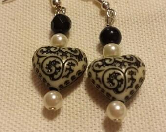 Black and white Gothic Heart Dangle Earrings