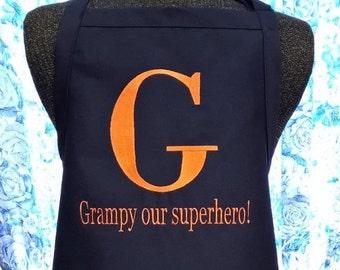 Personalized Apron for Grampy Grandpa Papa Poppy Our Superhero!