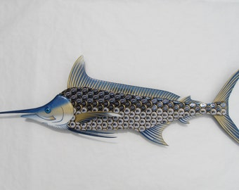 Metal Fish Wall Art -  Blue Marlin made with Miller Lite Bottlecap Art