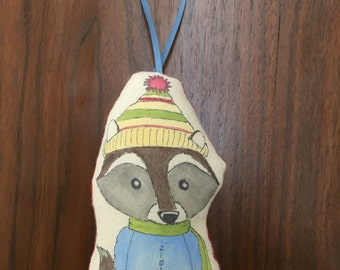 Frederick's Yellow Boots-A Raccoon Art Doll or Ornament Ready for Winter